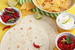 Mexican tortillas with nachos and dips Royalty Free Stock Photos