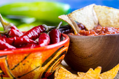 Mexican tortillas salsa and chili peppers. Some mexican tortillas,nachos Stock Photography