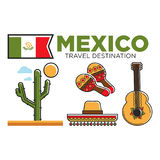 Mexican tourist travel attractions and Mexico traditional culture vector symbols set Stock Photo