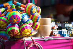 Mexican toys with a pattern. Some typical mexican culture toys in a marketplace located in Guadalajara, Jalisco stock photo