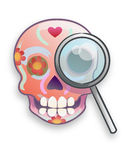 Mexican traditional cartoon skull with a lens Royalty Free Stock Images