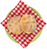 Mexican Traditional Dead Bread To View. Mexican Day of the dead bread seen from above, Pan de Muerto, with flowery background Royalty Free Stock Image