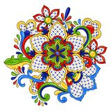 Mexican traditional decorative object. Talavera ornamental ceramic. Ethnic folk ornament stock illustration