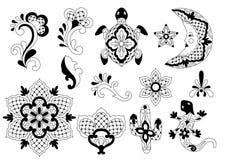 Mexican traditional decorative objects. Talavera ornamental ceramic. Ethnic folk ornament stock illustration