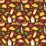 Mexican traditional dish with meat mexico food vector seamless pattern background Royalty Free Stock Photography