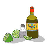 Mexican traditional drink. Tequila bottle, lime and salt. Vector background Stock Illustration