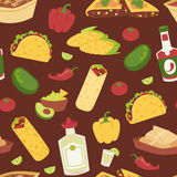 Mexican traditional food with meat seamless pattern Royalty Free Stock Photo
