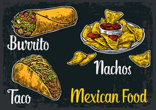 Mexican traditional food set with text message, burrito, tacos, chili, tomato, nachos. Vector vintage engraved illustration for me. Nu, poster, web. Isolated on Royalty Free Stock Photo