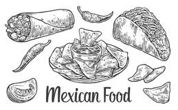 Mexican traditional food set with text message, burrito, tacos, chili, tomato, nachos. Vector vintage engraved illustration for menu, poster, web.  on white Stock Image