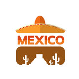 Mexican Traditional Hat Sombrero Mexico Eyeglasses With Cactus Royalty Free Stock Photos