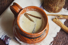 Mexican traditional hot beverage, atole. Mexican traditional beverage, atole. Made from amaranth seeds and cinnamon Stock Image