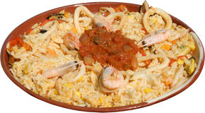 Mexican traditional meal with shrimps, rice and corn. Royalty Free Stock Photos