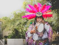 Mexican Traditional Musician Performing On Street