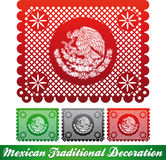 Mexican traditional patriotic decoration. Paper cut decoration, easy edit Stock Photography