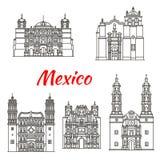 Mexican travel landmark icon with catholic church. Mexican travel landmark icon set of religious architecture. Roman catholic Basilica of Our Lady of Solitude royalty free illustration