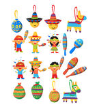 Mexican Trditional Fiesta Elements Collection Stock Image