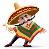 Mexican trumpeter. Illustration of mexican musician in sombrero with trumpet drawn in cartoon style Stock Photo
