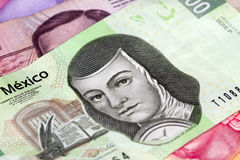 Mexican Two Hundred Peso Bill. New 200 peso mexican bill aside from others Royalty Free Stock Photo
