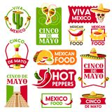 Mexican vector icons for Cinco de Mayo holiday. Cinco de Mayo icons for Mexican national holiday celebration. Vector isolated set of Mexico Aztec pyramid Royalty Free Stock Photo