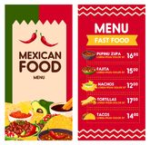 Mexican vector menu for Cinco de Mayo holiday. Cinco de Mayo Mexican food menu template for Mexico holiday celebration. Vector price design for Mexican fast food royalty free illustration