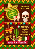 Mexican vector poster for Cinco de Mayo fiesta. Cinco de Mayo Mexican fiesta party poster or Mexico national holiday celebration greeting card. Vector design of