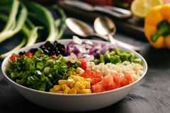 Mexican vegetable salad with black bean- cowboy caviar. Stock Photography