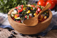 Mexican vegetable salad on plate closeup and ingredients horizon Stock Photography