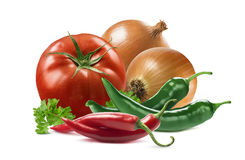 Mexican vegetables set tomato onion chili pepper parsley isolate Stock Photo