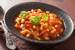 Mexican veggie chilli in plate Stock Image
