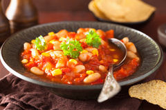 Mexican veggie chilli in plate Stock Images