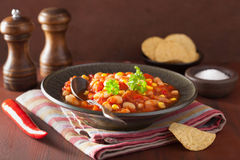 Mexican veggie chilli in plate Royalty Free Stock Image
