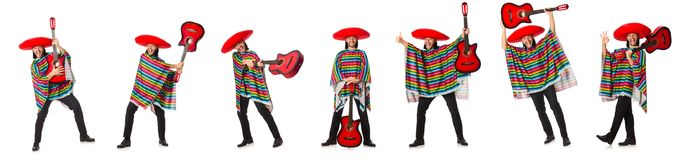The mexican in vivid poncho holding guitar isolated on white Stock Photo