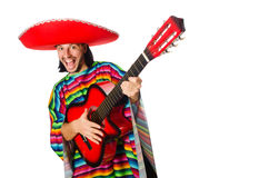 Mexican in vivid poncho holding guitar isolated on Royalty Free Stock Photography