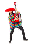 Mexican in vivid poncho holding guitar isolated on Royalty Free Stock Photo