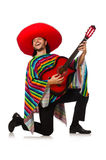 Mexican in vivid poncho holding guitar isolated on Royalty Free Stock Image