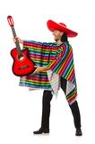 Mexican in vivid poncho holding guitar isolated on Stock Images