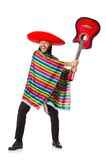 Mexican in vivid poncho holding guitar isolated on Stock Image