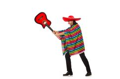 Mexican in vivid poncho holding guitar isolated on Stock Photography