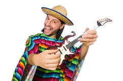 Mexican in vivid poncho holding guitar isolated on Royalty Free Stock Images