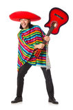 Mexican in vivid poncho holding guitar isolated on Stock Photos