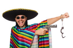 Mexican in vivid poncho holding gun isolated on Royalty Free Stock Photos
