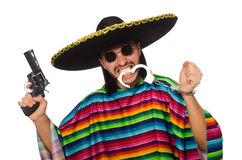 Mexican in vivid poncho holding gun Royalty Free Stock Photography