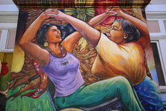 Mexican walls of house of women, San Francisco, California, USA. SAN FRANCISCO, CALIFORNIA–SEPTEMBER 17, 2014 : Mexican murals painted walls of Casa de las Royalty Free Stock Image