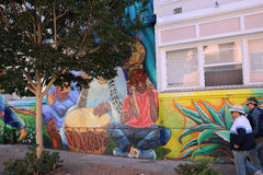 Mexican walls of house of women, San Francisco, California, USA. SAN FRANCISCO, CALIFORNIA–SEPTEMBER 17, 2014 : Mexican murals painted walls of Casa de las Royalty Free Stock Images