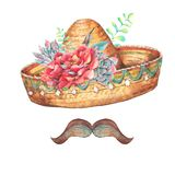Mexican watercolor greeting card with sombrero. Flowers, roses, mustache. Hand painted illustration on white background royalty free illustration