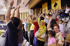 Mexican wave at tennis tournament Royalty Free Stock Photography