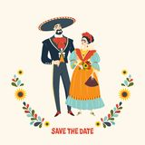 Mexican wedding. Beautiful couple in love in traditional Mexican clothes. vector illustration