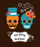 Mexican wedding invitation with two hipster skulls Royalty Free Stock Photo