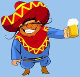 Mexican With A Beer. Royalty Free Stock Images