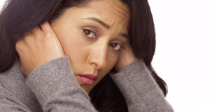 Mexican woman with anxiety royalty free stock photography